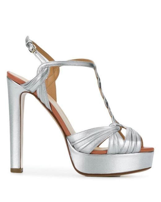 adc48b0a1a4 Francesco Russo - Gray Platform T-bar Sandals - Lyst ...