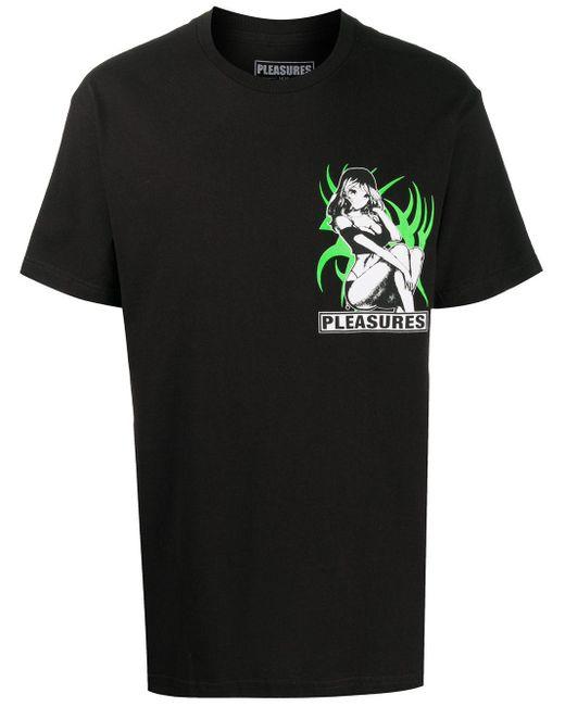 メンズ Pleasures ロゴ グラフィック Tシャツ Black