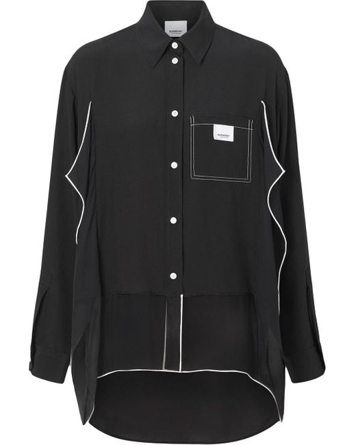Крепдешиновая Рубашка Оверсайз Burberry, цвет: Black