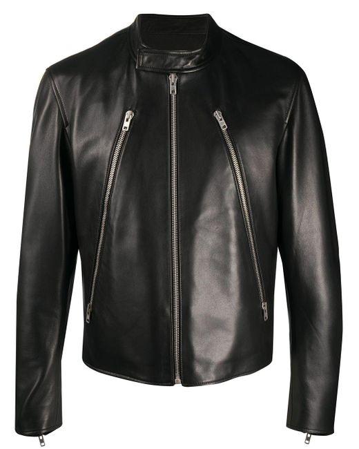 Maison Margiela Black Mock Neck Leather Jacket for men