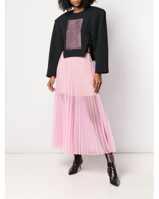 c2bbd078dd ... Christopher Kane - Pink Crystal Mesh Pleated Skirt - Lyst ...