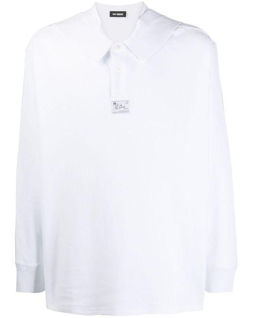 メンズ Raf Simons ロングスリーブ ニットポロシャツ White