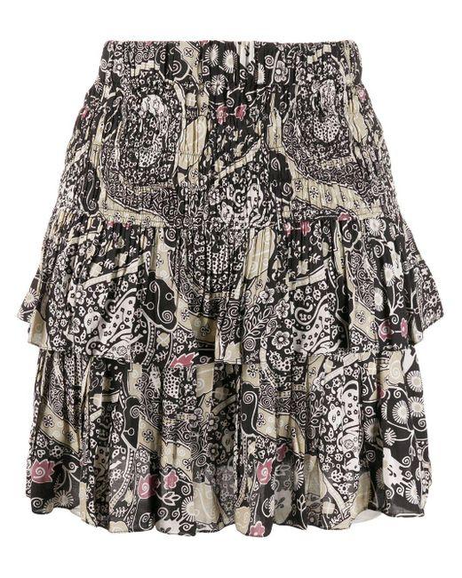 Étoile Isabel Marant Ruched Layered Paisley Print Skirt Black