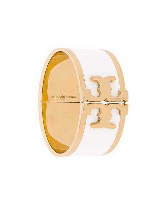 Tory Burch - White Enamelled Raised-logo Wide Bracelet - Lyst