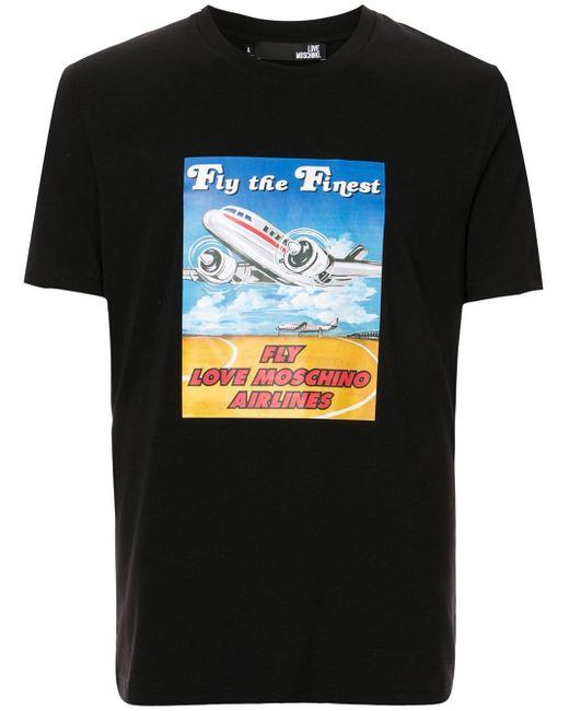 メンズ Love Moschino Fly The Finest Tシャツ Black