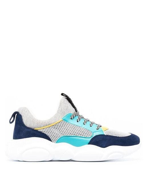 Moschino Blue Multi-panel Design Sneakers for men