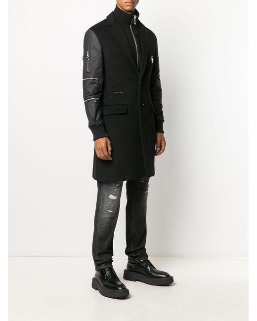 メンズ Philipp Plein レイヤード コート Black