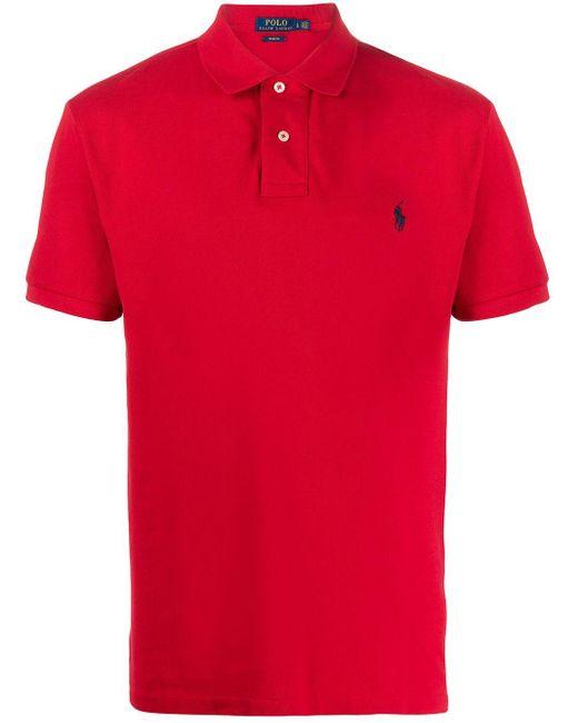 メンズ Polo Ralph Lauren ピケ ポロシャツ Red