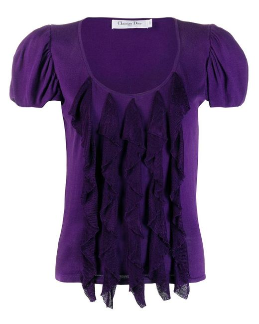Dior Purple Pre-owned Balloon Sleeves Ruffled Blouse
