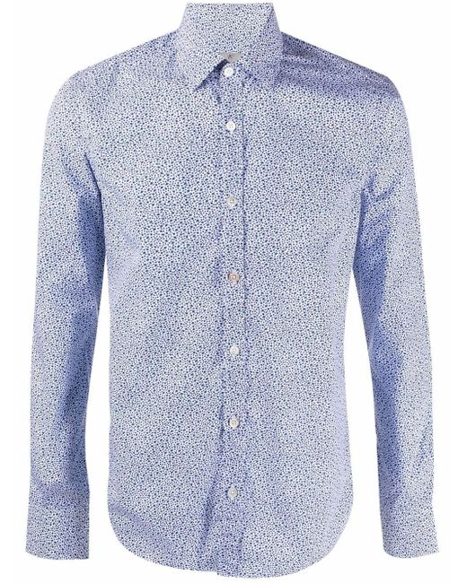 Canali Blue Floral-print Fitted Shirt for men