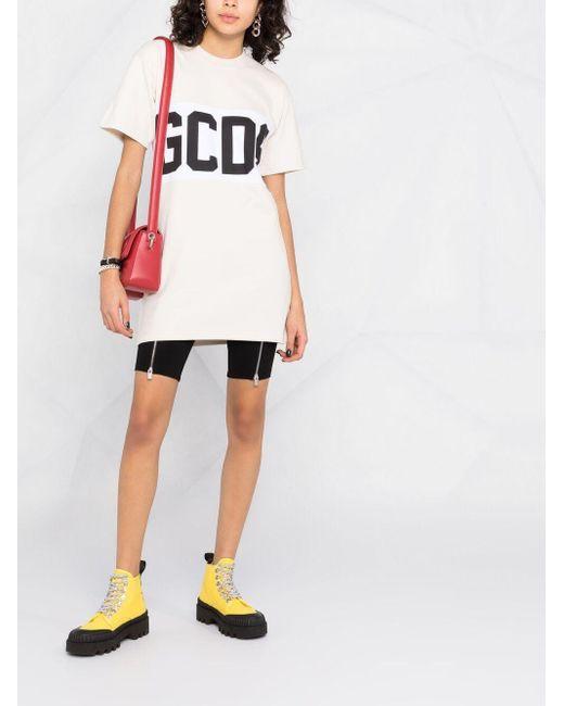 Vestido estilo camiseta con logo Gcds de color White