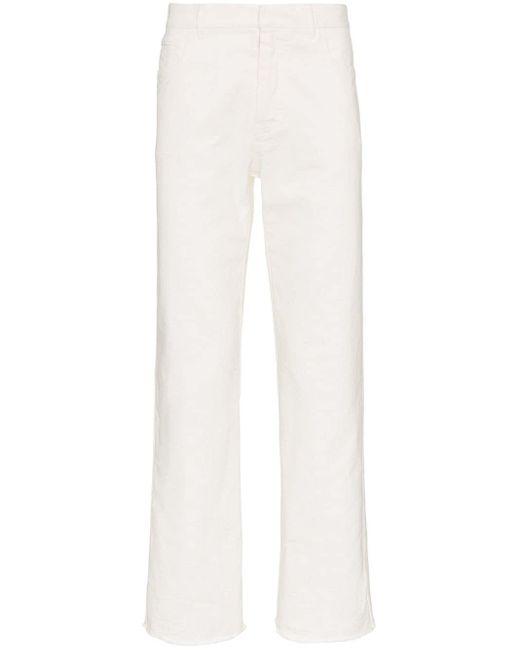Haider Ackermann White Raw Hem Tapered Cotton Denim Jeans for men