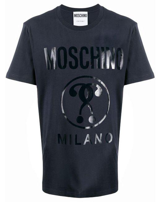 メンズ Moschino ロゴ Tシャツ Blue