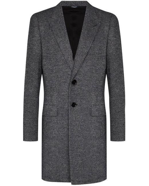 メンズ Dolce & Gabbana ヘリンボーン コート Gray