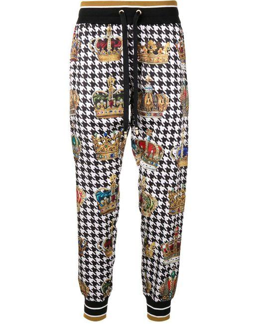 メンズ Dolce & Gabbana ハウンドトゥース トラックパンツ Multicolor