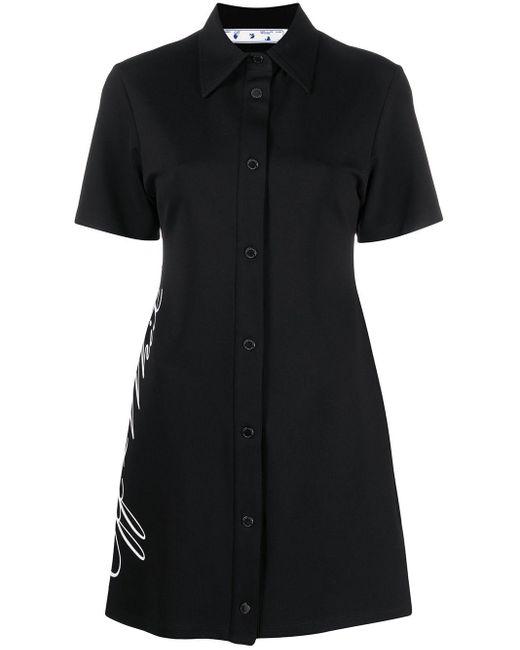 Vestito modello T-shirt con stampa di Off-White c/o Virgil Abloh in Black