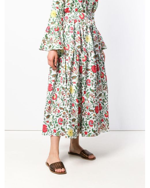Tiered Floral Skirt LaDoubleJ, цвет: White