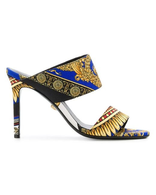 Versace - Blue Baroque Print Mules - Lyst