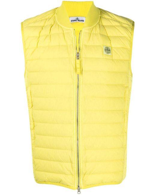 Дутый Жилет С Нашивкой-логотипом Stone Island для него, цвет: Yellow