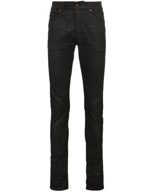 Джинсы Скинни С Вощеным Покрытием Saint Laurent для него, цвет: Black