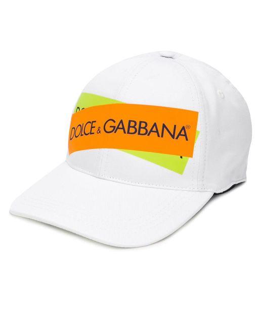 Dolce & Gabbana White Logo Print Baseball Cap for men