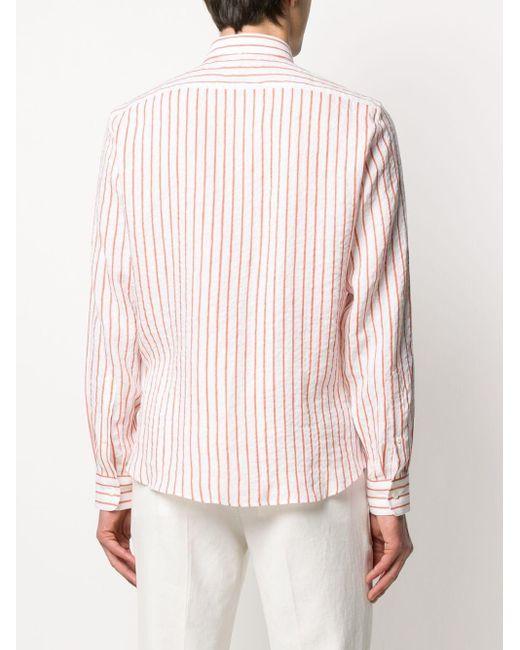Полосатая Рубашка С Заостренным Воротником Brunello Cucinelli для него, цвет: Pink