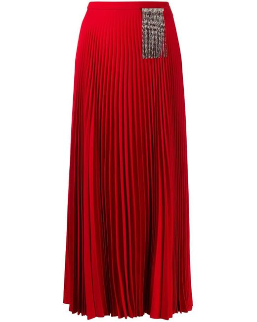 Christopher Kane ビジュー プリーツスカート Red