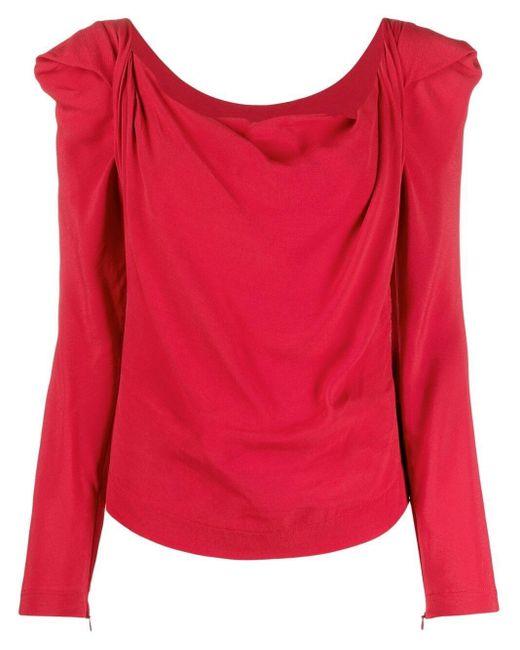 Vivienne Westwood Red Elizabeth Draped Long-sleeved Blouse