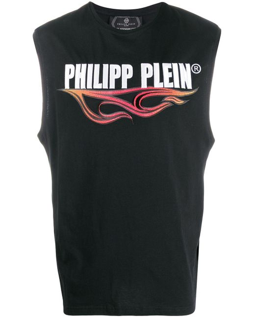 メンズ Philipp Plein Flame タンクトップ Black