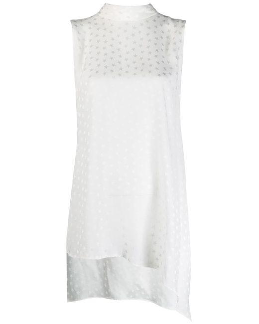 P.A.R.O.S.H. Blusa sin mangas con motivo de estrellas de mujer de color blanco IP4sO