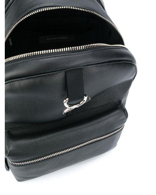 メンズ Giuseppe Zanotti ロゴ レザー バックパック Black