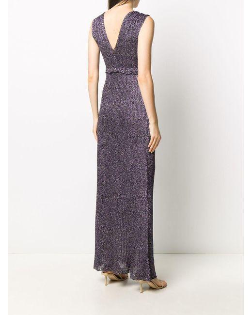 M Missoni Vネック ラッフルトリム ドレス Purple