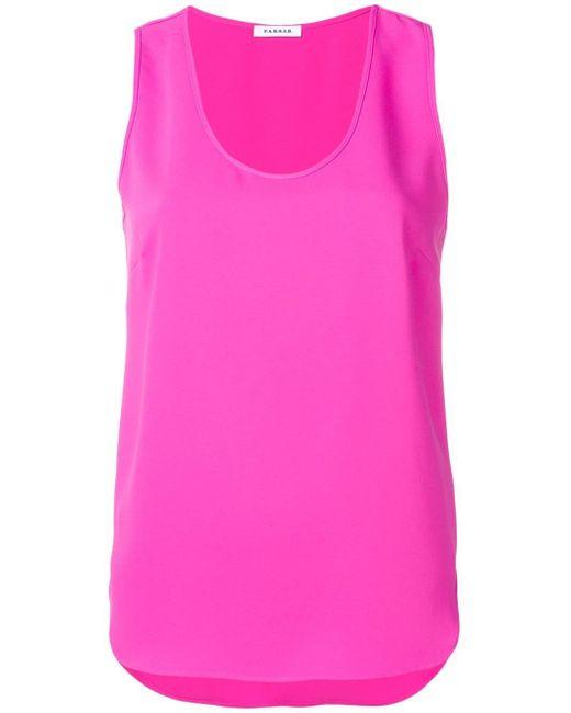 P.A.R.O.S.H. Top sin mangas con escote redondo de mujer de color rosa ssGOI