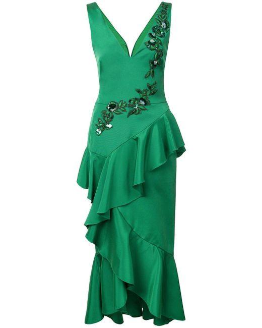 Платье-миди С Вышивкой Marchesa notte, цвет: Green