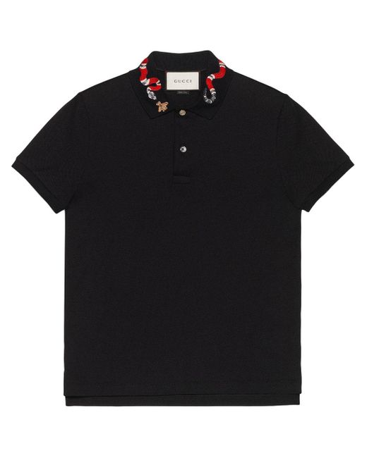 メンズ Gucci グッチスネーク エンブロイダリー付き コットン ポロシャツ Black