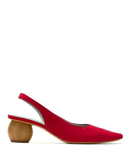 Blue Bird Shoes フローラル スリングバック パンプス Red