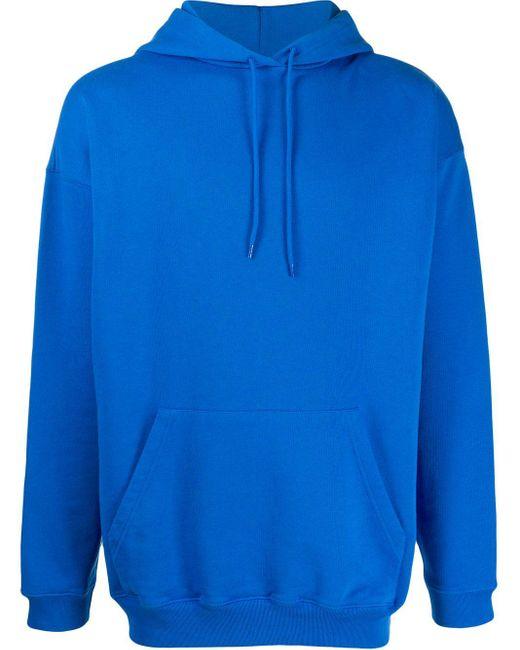 Balenciaga Blue Oversized Logo Print Hoodie for men