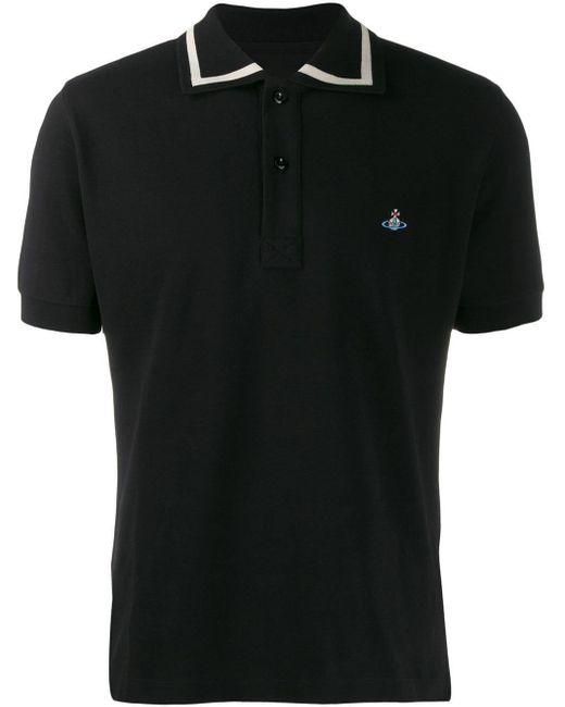 メンズ Vivienne Westwood ロゴ ポロシャツ Black
