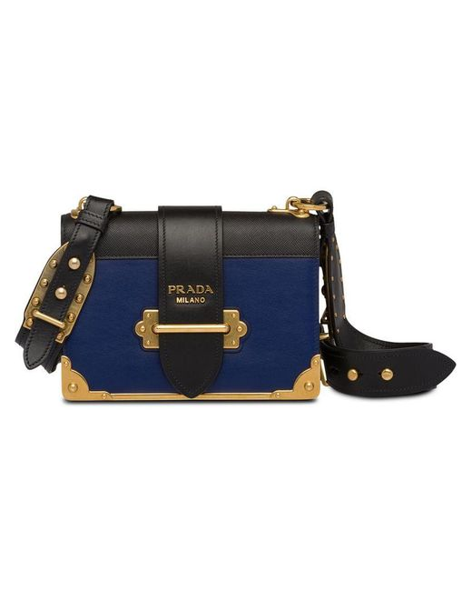... Prada - Blue Cahier Leather Shoulder Bag - Lyst ... e7695f7fb53f2