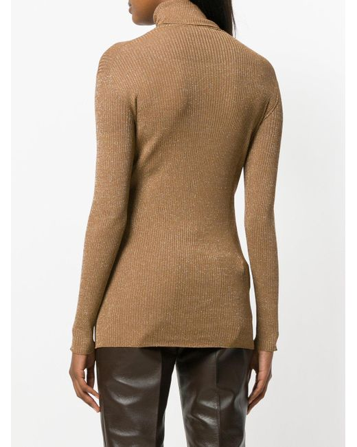 Prada Fitted Turtleneck Sweater in Brown | Lyst