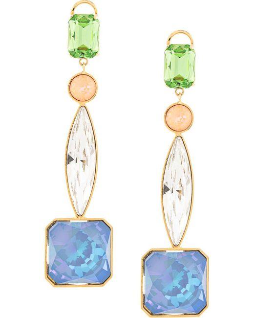 Shourouk Multicolor Crystal Drop Earrings