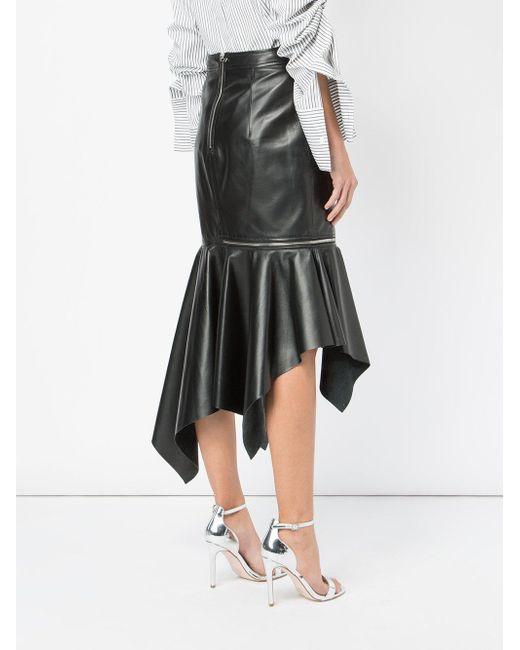 Falda asimétrica con detalle de cremalleras Monse de color Black