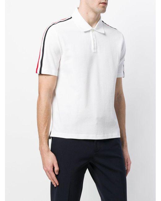 2ed2be61691b9 ... Moncler - White Shoulder Strap Polo Shirt for Men - Lyst ...