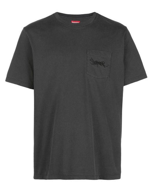 メンズ Supreme ロゴパッチ Tシャツ Black
