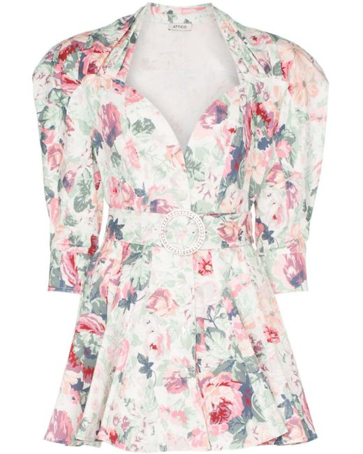 The Attico Pink Floral-print Belted Stretch-cotton Dress