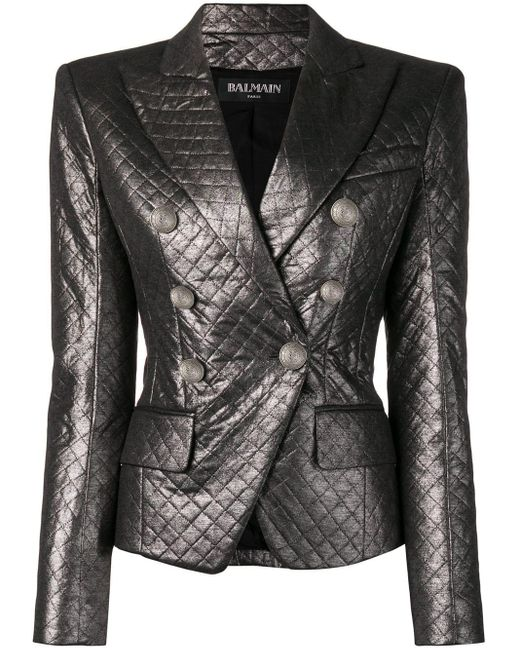 Balmain Quilted Fitted Blazer Gray