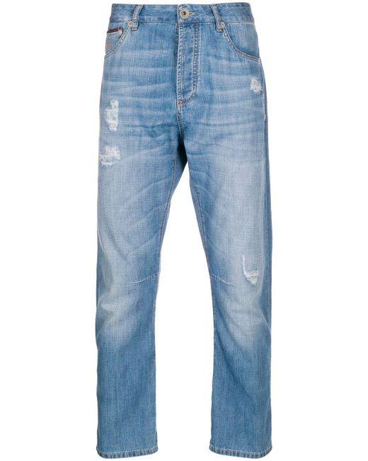 メンズ Brunello Cucinelli ダメージ ストレートジーンズ Blue