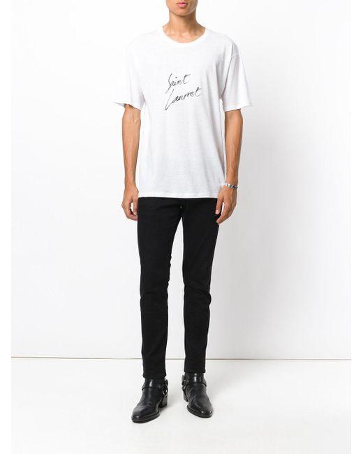 f5f71165fec ... Saint Laurent - White Logo Marked T-shirt for Men - Lyst ...