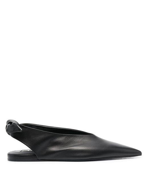 Jil Sander Black Knot-detail Flat Ballerina Shoes