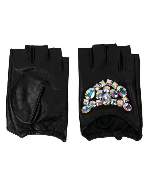 Karl Lagerfeld - Black Geo Stones Fingerless Gloves - Lyst